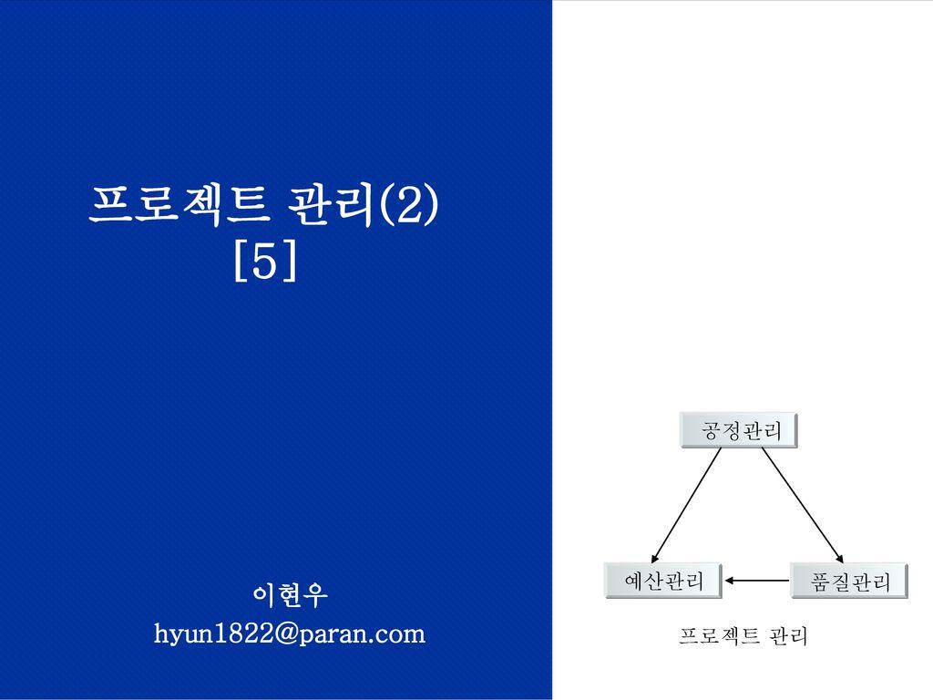 프로젝트 관리(2) [5] 프로젝트 관리 공정관리 예산관리 품질관리 이현우 hyun1822@paran.com